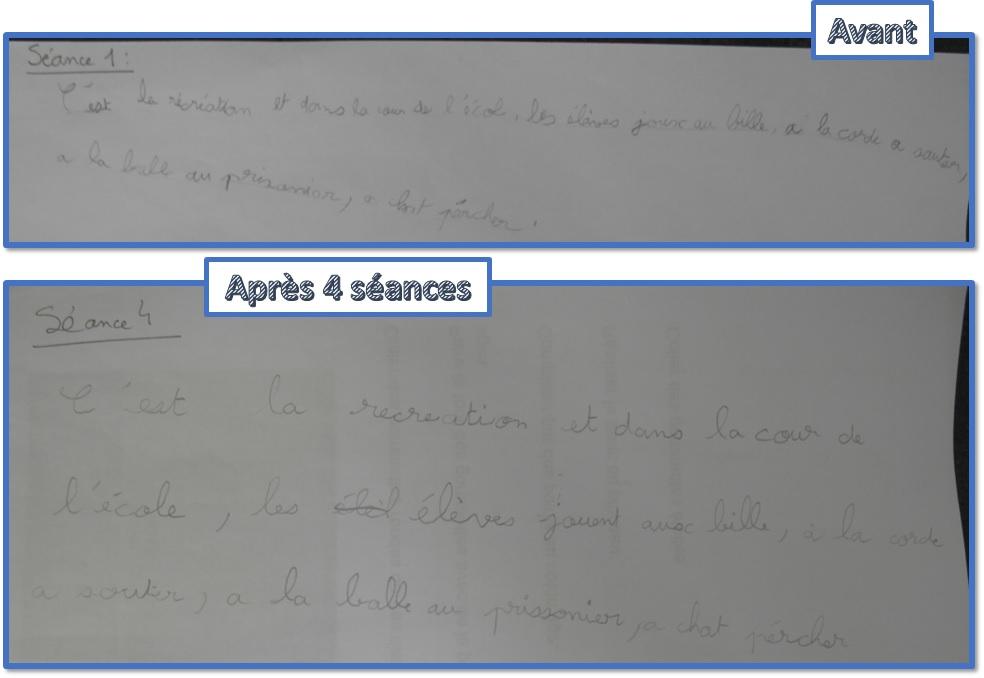 Une rééducation du geste d'écriture pour un enfant qui a réalisé ses exercices assidûment